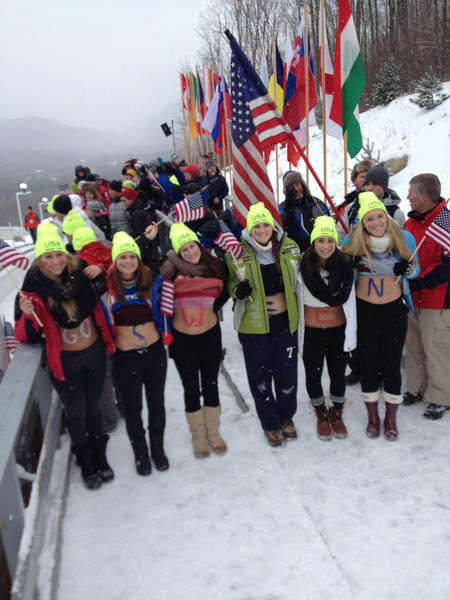 """Members of """"The Sween Team"""" show their support for Emily Sweeney, a luger from Suffield, as she competed Friday in Lake Placid, N.Y."""