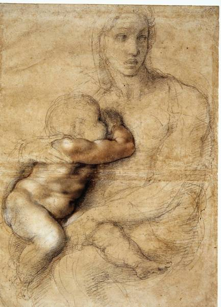"""Madonna and Child,"" by Michelangelo, is one of 26 rare works that will be on view at the Muscarelle Museum of Art in ""Michelangelo: Sacred and Profane Masterpiece Drawings from the Casa Buonarroti."""