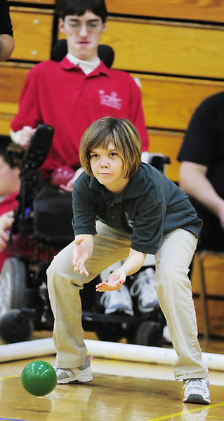 South Hagerstown's Jessica Young rolls a shot during the Washington County Unified Bocce Championships on Saturday at North Hagerstown High School. Hancock won the county title for the second straight year.