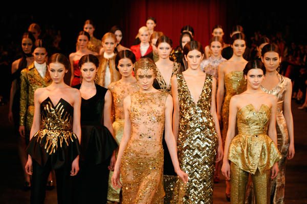 Models walk the runway at the Christian Siriano Fall 2013 fashion show during Mercedes-Benz Fashion Week on February 9, 2013 in New York City.