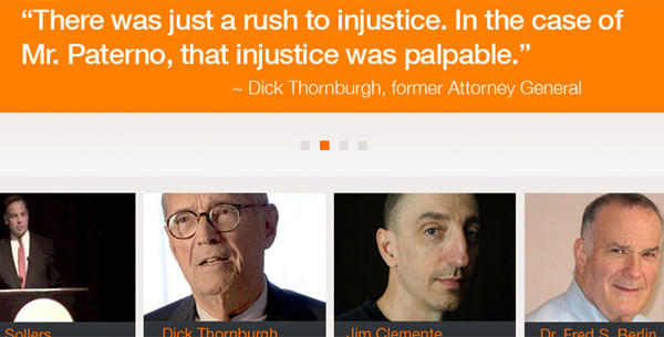 A frame grab of the paterno.com website, which features quotes from each of the members assembled to study the Freeh report.