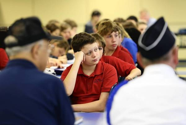 Korean War Veterans, met with students at St. Paul Catholic School, Leesburg, on Tuesday, January 29, 2013, to teach them about the war. (Tom Benitez/Orlando Sentinel)