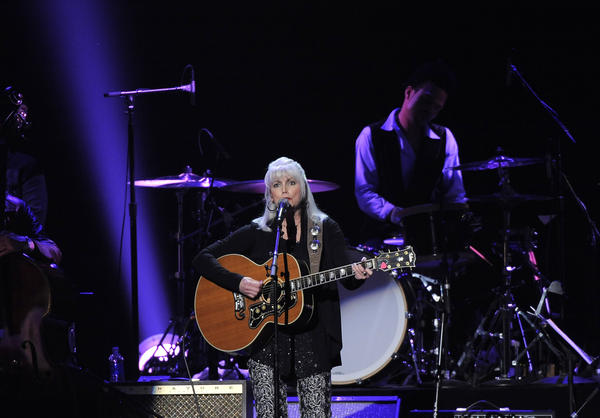 Emmylou Harris, shown during Friday's MusiCares tribute to Bruce Springsteen, led an all-star show Saturday at the Troubadour in West Hollywood.