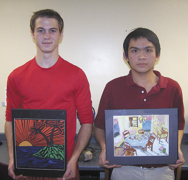 From left, senior Bryce Nigh and junior Simon Huynh participated in the Wilson College School of Arts competition.