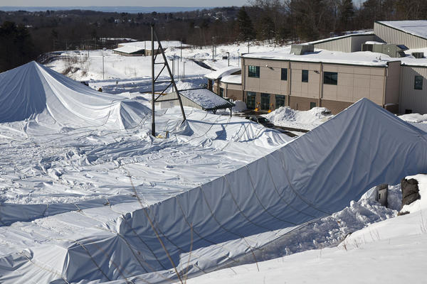 The Star Hill Family Athletic Center at 100 Gerber Drive in Tolland collapsed last night, according to Clem Langlois, the town's public works director.  The new sports facility has indoor soccer fields, a track and a pool. The track and field was the part covered by a white bubble-like structure.