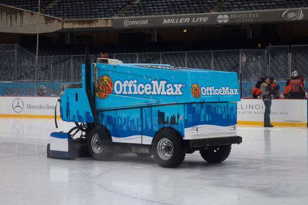 The custom decorated zamboni sweeps the ice before the Latin Romans and the St. Ignatius Wolfpack kick off High School Hockey Faceoff as part of the 2013 Hockey City Classic Winter Festival held at Soldier field on Friday, February 8, 2013.