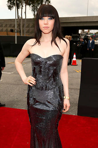 Singer Carly Rae Jepsen attends the 55th Grammy Awards at Staples Center.