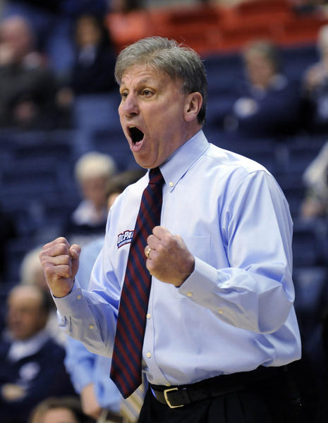 DePaul coach Doug Bruno yells at one of his players during their Big East game against UConn at Gampel Pavilion Sunday.