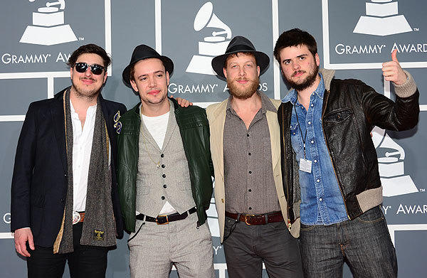 Mumford & Sons, nominees for album of the year,  rock performance,  rock song and Americana album,  arrive on the red carpet at Staples Center for the 55th Grammy Awards in Los Angeles.