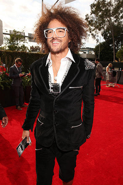 LMFAO's Redfoo pauses on the red carpet before the Grammy Awards ceremony at Staples Center at L.A. Live on Sunday.