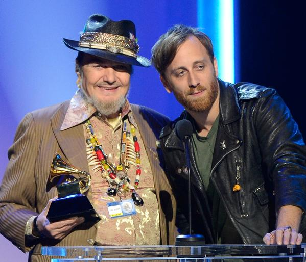 "Dr. John, left, accepts his Grammy for blues album for ""Locked Down"" during the pre-telecast show. Dan Auerbach, right, produced the album. Auerbach won the Grammy for producer of the year, non-classical."