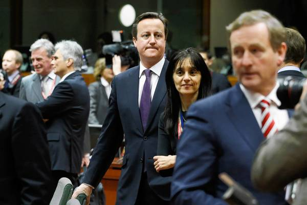 British Prime Minister David Cameron, center, has promised if reelected to hold a vote on whether Britain should stay in the European Union.