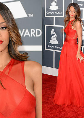 Rihanna wearing a Azzedine Alaia dress, Neil Lane jewelry, and Manolo Blahnik shoes.