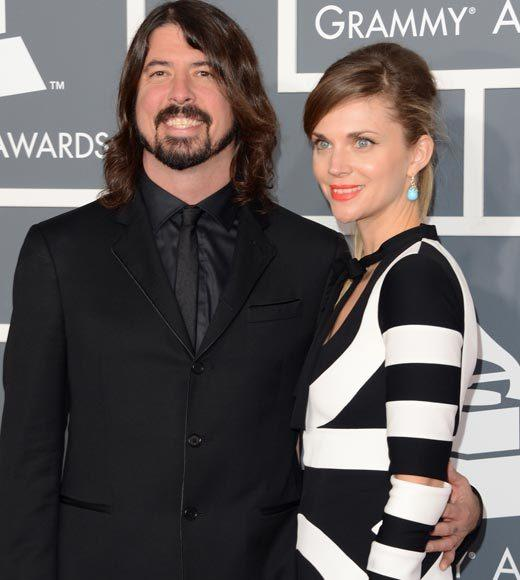 Grammy Awards 2013: Red Carpet Arrivals: Dave Grohl and Jordyn Blum