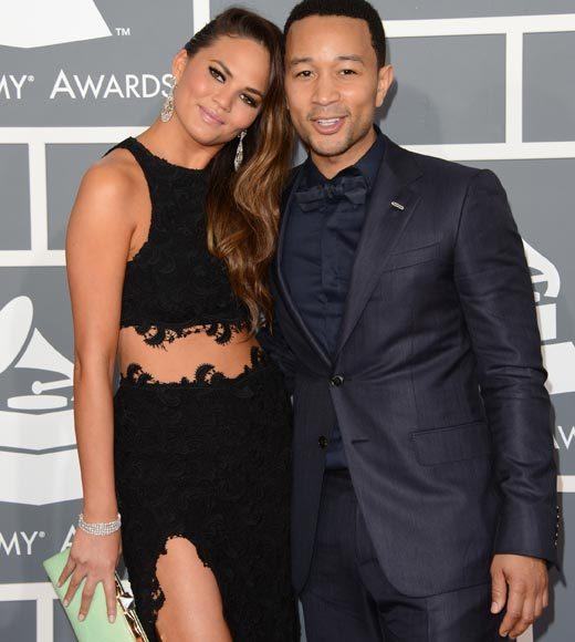 Grammy Awards 2013: Red Carpet Arrivals: Chrissy Teigen and John Legend