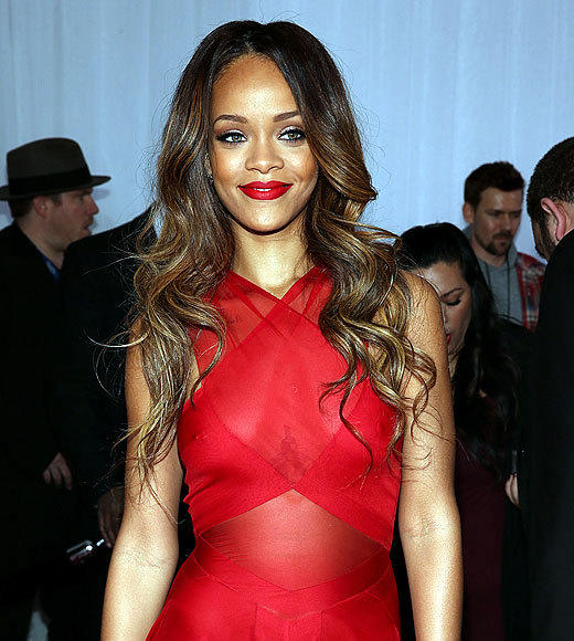 2013 Grammy Awards: Best and worst moments: Rihanna wore a stunning red dress to walk the Grammy red carpet, but in the cool L.A. air, it proved somewhat inadequate to cover her torso completely. Whoops.   -- Rick Porter, Zap2it