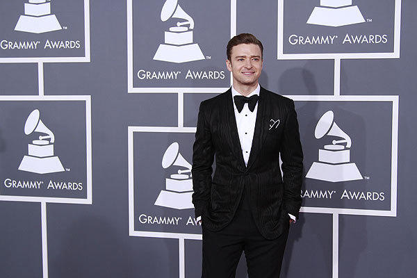 Justin Timberlake wears Tom Ford at the 55th Annual Grammy Awards at Staples Center in Los Angeles.