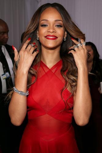 Rihanna accessorized with jewelry by Neil Lane.