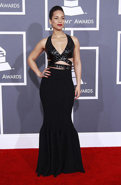 Alicia Keys arrives for the 2013 Grammys.