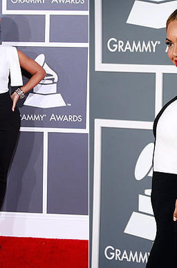 Beyonce in a graphic black-and-white crepe jumpsuit by Osman Studio.