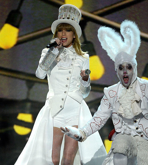 2013 Grammy Awards: Best and worst moments: In a glittery top hat and sassy shorts, Swift opened the show with her hit We Are Never Ever Getting Back Together -- and though the song wasnt written for Styles, this particular version was definitely directed at him.   -- Carina Adly MacKenzie, Zap2it