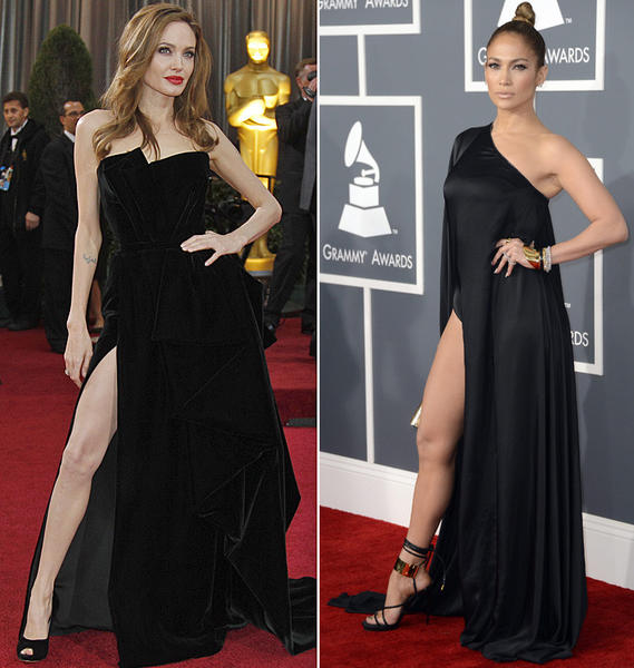 Angelina Jolie, left, shows some leg at the 2012 Oscars; Jennifer Lopez did the same at the 2013 Grammys.