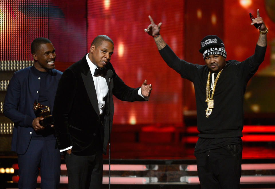"Best Rap Song -- ""... in Paris"" <br> Best Rap/Sung Collaboration -- ""No Church In The Wild featuring Frank Ocean & The-Dream"" <span style=""color: #942928;""><strong>WINNER</strong> (pictured)</span> <br> Rap performance -- ""... in Paris""<br>Rap/sung collaboration -- Jay-Z & Kanye West featuring Frank Ocean & The-Dream<br>Rap song -- ""N****s in Paris"" -- Shawn Carter, Mike Dean, Chauncey Hollis & Kanye West, songwriters (W.A. Donaldson, songwriter) <span style=""color: #942928;""><strong>WINNER</strong> </span>"