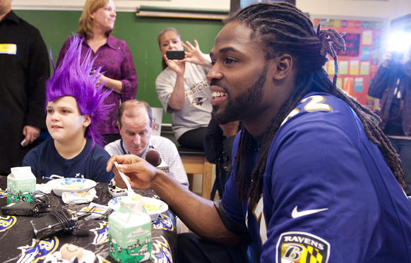 "Torrey Smith shares a protein packed breakfast, including milk, with students in support of the Breakfast Blitz campaign. The initiative is a partnership between the ""got milk?"" Campaign and Fuel Up to Play 60, providing $250,000 in grants to local schools across the country to help give kids greater access to a healthy breakfast. The event took place at Chase Elementary School on February 8, 2013 in Baltimore"