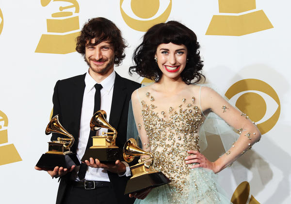 "Record of the year -- ""Somebody That I Used To Know"" -- Gotye featuring Kimbra <span style=""color: #942928;""><strong"