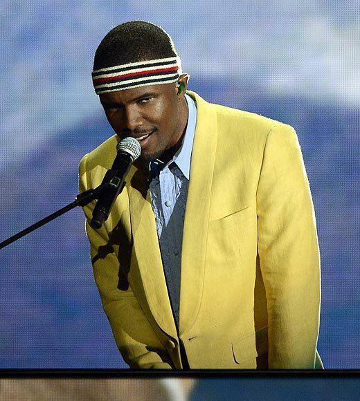 2013 Grammy Awards: Best and worst moments: So, the graphics were cool, with the way that filmed Frank Ocean blended in with live Frank Ocean as he did his song Forrest Gump. But beyond that, the meandering performance left us more confused than anything else.   -- Rick Porter, Zap2it