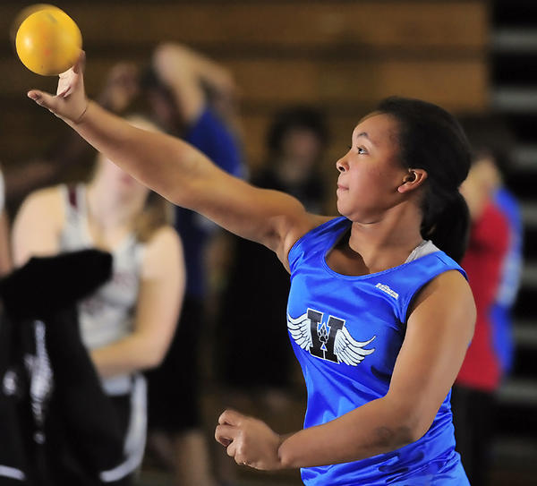 Williamsport's Lakya Mills releases the shot put on Saturday during competition at the Maryland Class 2A West Indoor Track and Field championships at Hagerstown Community College.