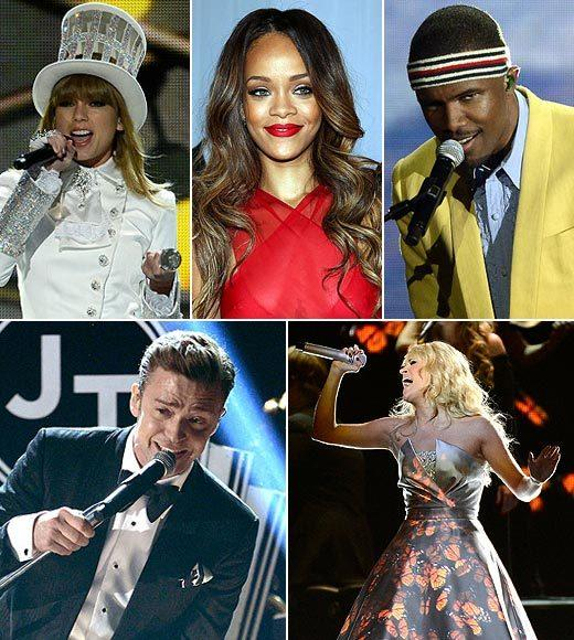2013 Grammy Awards: Best and worst moments: Justin Timberlake returned. Taylor Swift spoke in a British accent. Carrie Underwood wore a magic digital dress. Fun. won a lot, and got wet on stage.  Just another night at the Grammys, right? Here are Zap2its picks for the best and worst of the 2013 Grammy Awards.