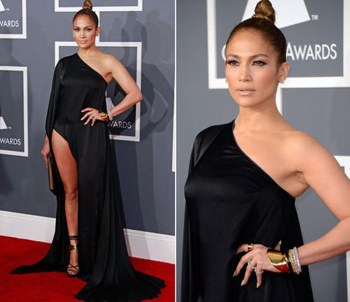 "Jennifer Lopez in Anthony Vaccarello. She took the stage to give out the first award of the Grammys, struck a pose and noted that she ""got the memo"" about the dress code."