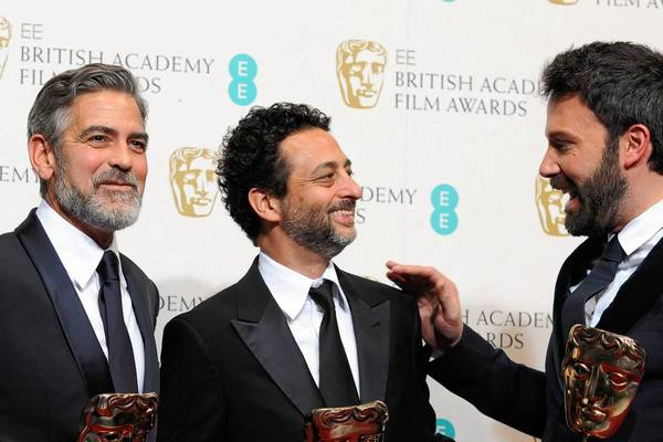 """Argo"" producers George Clooney, left and Grant Heslov and director Ben Affleck after winning the BAFTA for best film."