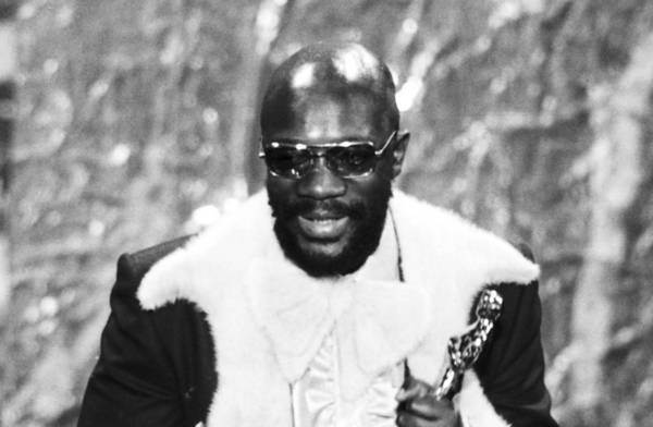 "Isaac Hayes holds his Oscar for best song ""Theme From Shaft"" from the movie ""Shaft."""