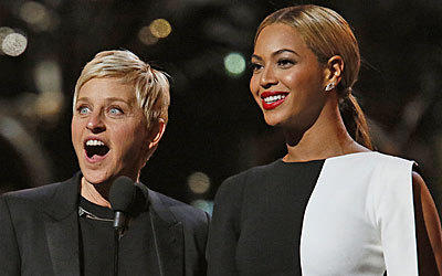 Ellen Degeneres and Beyonce at the 55th Annual Grammy Awards.
