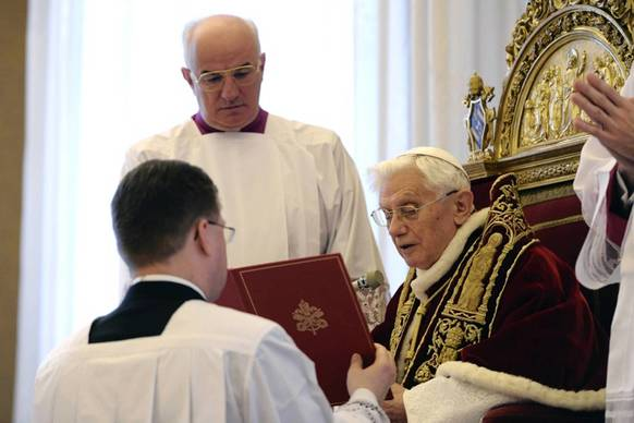 Pope Benedict XVI attends a consistory at the Vatican. Pope Benedict said today he will resign on Feb 28 because he no longer has the strength to fulfil the duties of his office, becoming the first pontiff since the Middle Ages to take such a step.