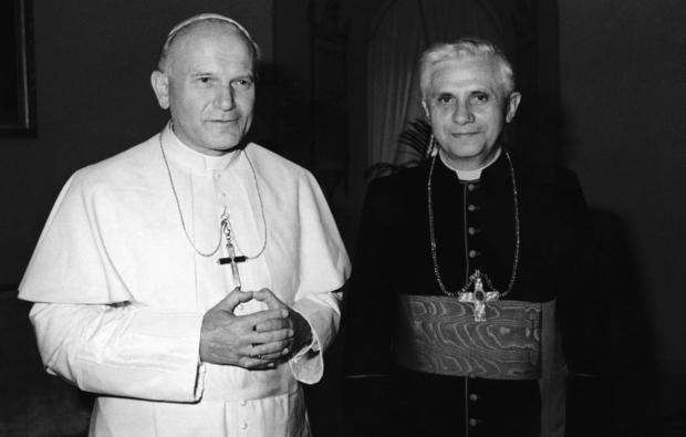 Pope John Paul II, left, with Cardinal Joseph Ratzinger of Munich in 1979.
