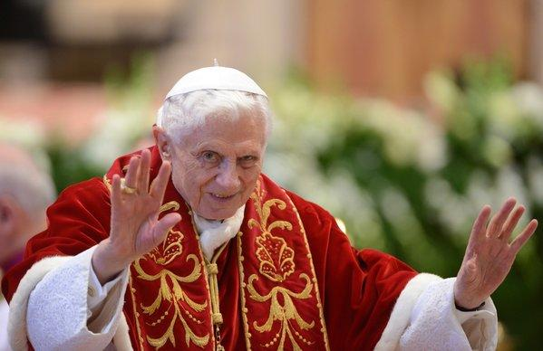 Pope Benedict XVI attends a ceremony to mark the 900th birthday of the Knights of Malta at St. Peter's Basilica at the Vatican. He announced two days later that he no longer had the strength to carry on his duties as pope.