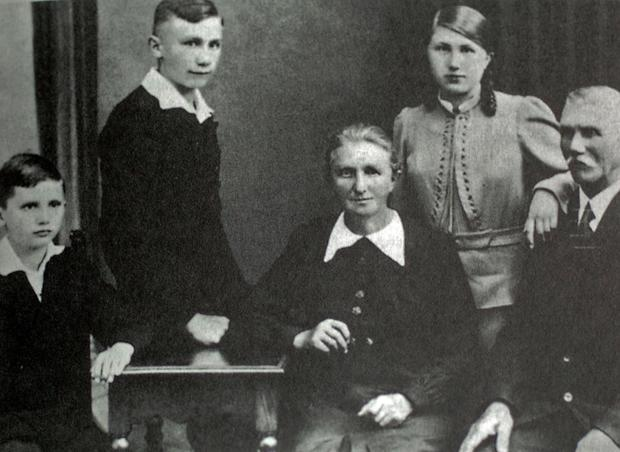 Joseph Ratzinger, left, and his family in 1938. From right, his father, Josef; sister Maria; mother Maria; and brother Georg. Photo provided by the German Catholic News Agency (KNA).