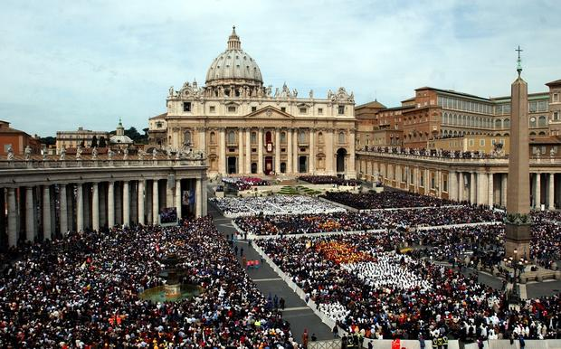 Thousands of people attend the installment Mass of Pope Benedict XVI in St. Peter's Square at the Vatican on April 24, 2005.