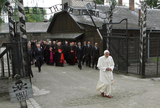 Benedict arrives for a prayer at the site of the World War II Auschwitz concentration camp in Oswiecim, Poland, in 2006.