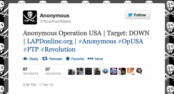 Anonymous claims to have disabled LAPD website