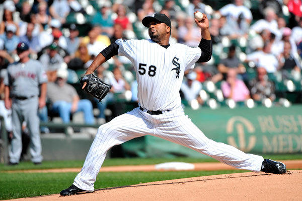 Chicago White Sox starting pitcher Francisco Liriano (58) delivers a pitch against the Cleveland Indians during the first inning at U.S. Cellular Field.