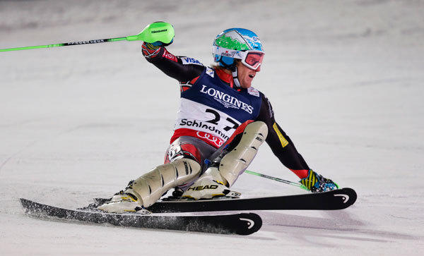 Ted Ligety of the U.S. skis during the men's super combined Slalom race at the World Alpine Skiing Championships in Schladming February 11, 2013.