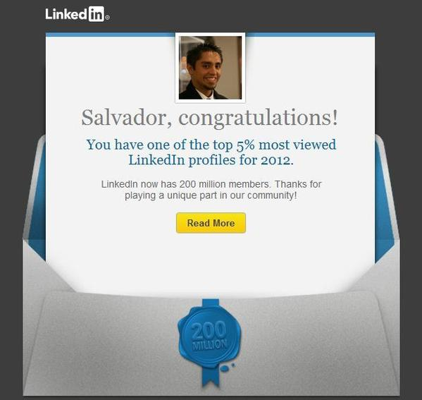 LinkedIn has been sending congratulatory emails to 10 million of its users as part of a marketing strategy.
