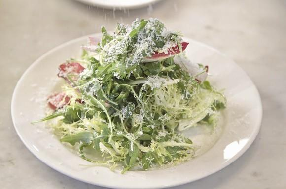 Dinner tonight! Salad with Parmigiano-Reggiano and anchovy dressing