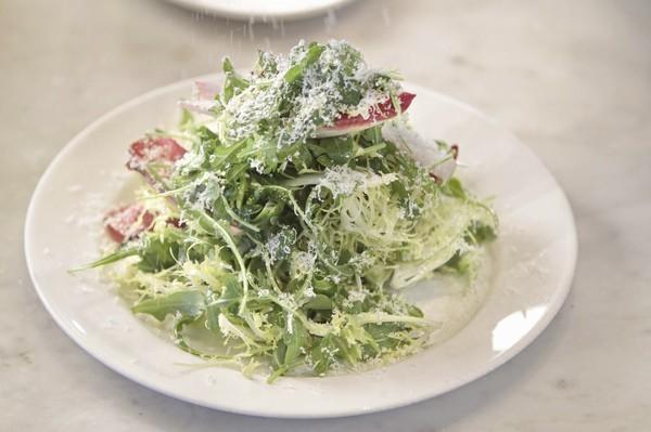 Salad with Parmigiano-Reggiano and anchovy dressing