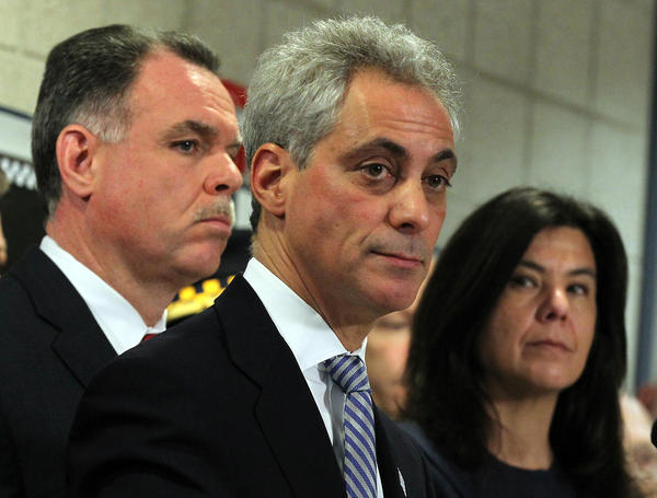 At the 15th District police station,  Chicago Mayor Rahm Emanuel, flanked by State's Attorney Anita Alvarez and Police Superintendent Garry McCarthy speaks following the introduction of statewide gun safety legislation.