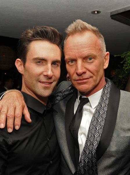 Musicians Adam Levine, left, and Sting.